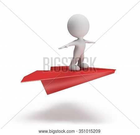 3d Person Flying On A Paper Plane. 3d Image. White Background.