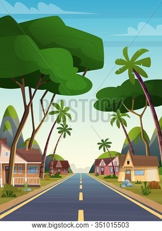 Cartoon Flat Landscape Local Houses Cottages Near The Road In The Jungle Forest On A Background Of M