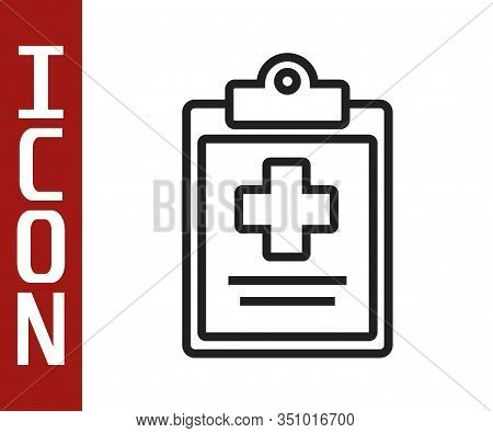 Black Line Medical Clipboard With Clinical Record Icon Isolated On White Background. Health Insuranc