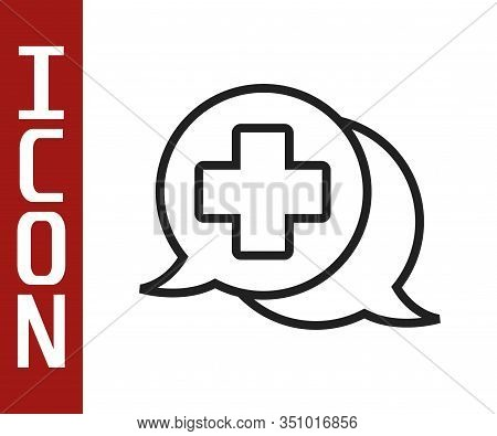 Black Line Dialogue With The Doctor Icon Isolated On White Background. Doctor And Patient Dialog. Co