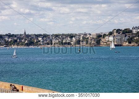 St Malo, France - September 14, 2018: View From The Ramparts At Marina And  The Town Of Dinard. Sain