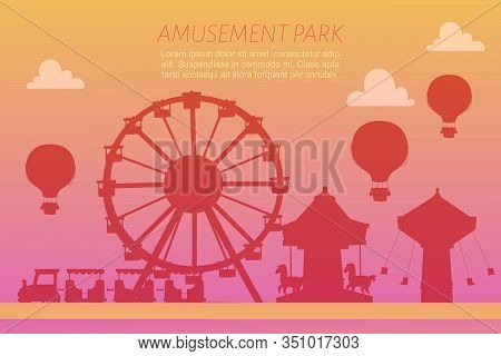 Amusement Park Silhoettes On Gradient Background Vector Illustration. Conceptual City Banners With C