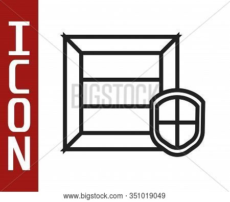 Black Line Delivery Pack Security With Shield Icon Isolated On White Background. Delivery Insurance.