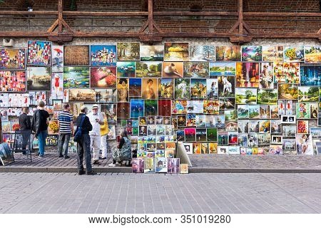 Krakow, Poland - July 26, 2017: Street Art Gallery Near Florian Gate, Where Local Artists Sell Their