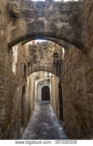 The Jewish Quarter In The Old Town Of Rhodes. A Greek Island With The Oldest, Still Lived In, Mediev