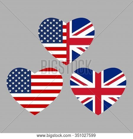Us And Uk Flags Icon In The Heart Shape. American And British Friendship Symbol. Vector Illustration