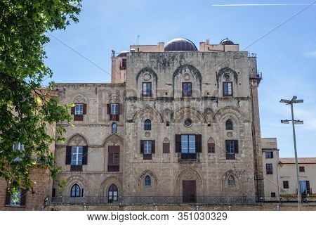 Exterior View Of Astronomical Observatory Seen From Norman Square In Palermo City, Sicily Island In