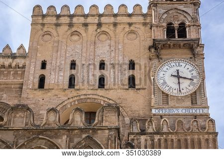 Clock On One Of The Towers Of Palermo Cathedral In Palermo City, Italy