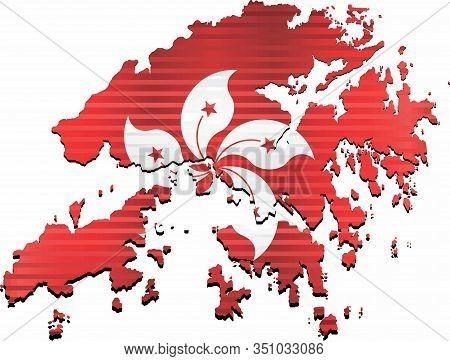 Shiny Grunge Map Of The Hong Kong - Illustration,  Three Dimensional Map Of Hong Kong