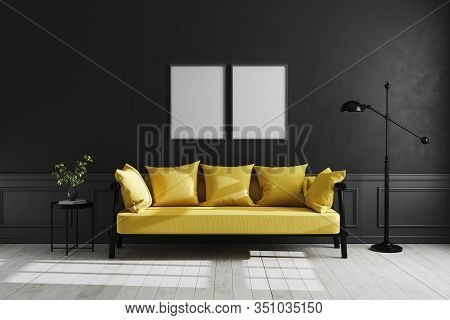 Mock Up Poster Frame In Luxury Dark Living Room Interior Background, Black Empty Wall Mock Up, Moder