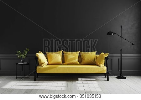 Luxury Dark Living Room Interior Background, Black Empty Wall Mock Up, Modern Living Room With Yello