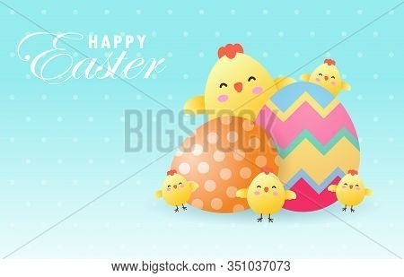 Happy Easter Day Poster. Cute Chicks And Easter Egg Greeting Card. Banner Template Isolated On Backg