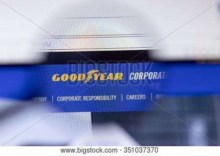 Saint-petersburg, Russia - 18 February 2020: Goodyear Tire And Rubber Company Website Page Logo On L