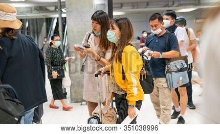 Beijing , China -15 February  2020: Coronavirus Infection Covid-19 In Airports Today