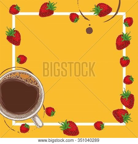Square Menu Template With Coffee, Raspberry And Strawberry On Orange Background With Blank Area In T