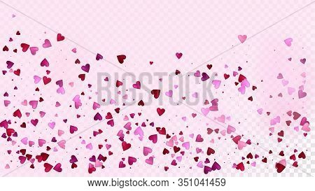 Realistic Hearts Vector Confetti. Valentines Day Tender Pattern. Beautiful Pink Scatter Valentines D