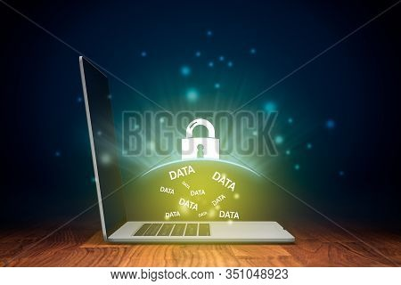 Computer Data Protection And Cyber Security Concept. Antivirus App Protected Computer Data Against C
