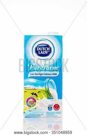 Kuala Lumpur,malaysia - February 16,2020 : A Pack Of Dutch Lady Pure Farm Low Fat Uht Milk On White