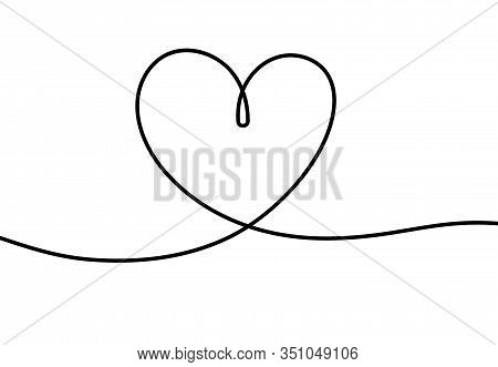 One Line Heart. Romantic Scribble Hand Drawn Illustration For Valentines Day, Cute Tattoo With Conti