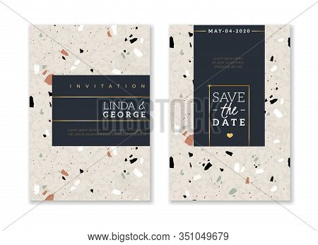 Terrazzo Wedding Invitation Card. Bridal Abstract Flyers Design, Save Date And Name, Stone And Marbl