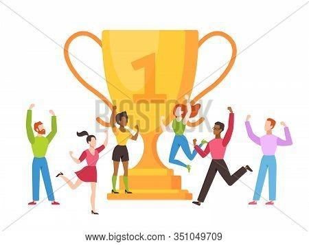 Trophy Cup Concept. Success Business Team With Golden Cup Prize, People Celebrating Victory, Leaders
