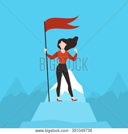 Woman With Red Flag On Peak. Business Woman On Mountain Top. Financial Success, Achievement Goal, Ca