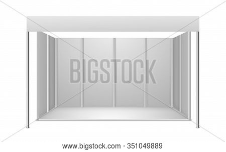 Exhibition Stand. White Blank Indoor Trade Exhibition Booth For Presentation Commercial Advertisemen
