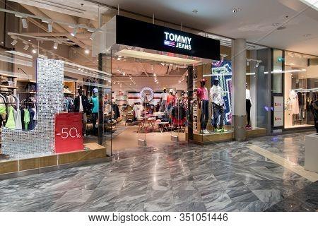 Tommy Jeans Shop Facade In Tallinn, Estonia, 9.2.2020