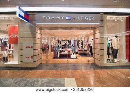 Tommy Hilfiger Shop Facade In Tallinn, Estonia, 9.2.2020