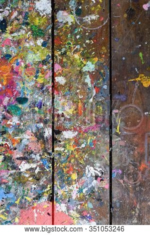 Artists Workshop Or Studio Bench Covered With Splattered Paint Built Up In Authentic Texture On Pain