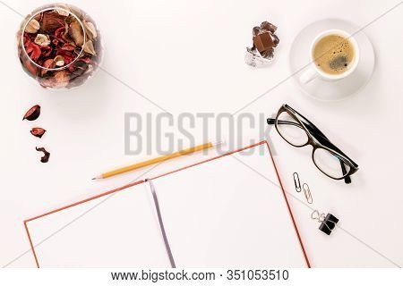 Stylized Photo. Minimal Flatlay Composition With Black Notebooks And Dried Flowers On White Backgrou
