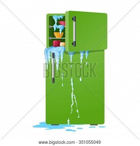 Broken Refrigerator Illustration, Damaged Fridge With Leakage