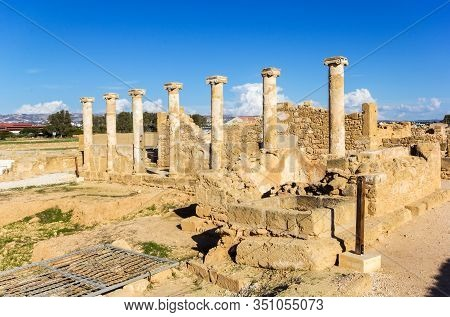 Temple Columns In Kato Paphos Archaeological Park, Paphos Archaeological Park, South Cyprus