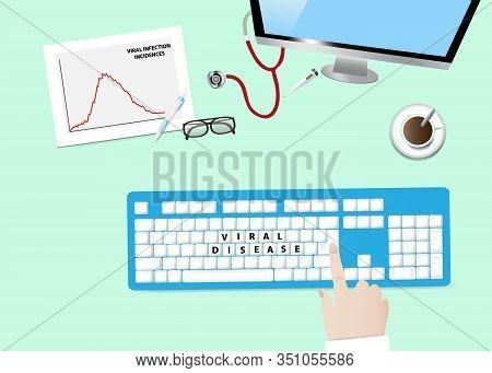 Viral Disease Concept Illustration Showing Keyboard With Inscription Viral Disease, Graph Of Viral I