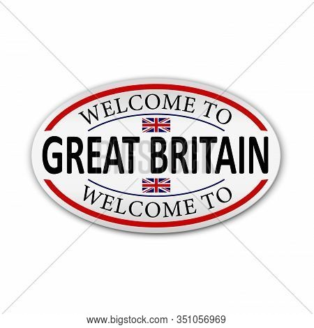 Flag Of Great Britain. Welcome To Great Britain. Vector Illustration.