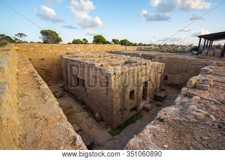 Paphos, Cyprus: 10 November 2017 - Tomb Of Kings, A Monolith Grave Cut Out Of Rock, Which Dates Back