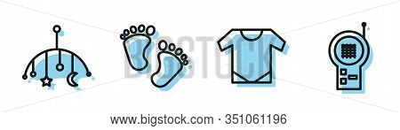 Set Line Baby Onesie, Baby Crib Hanging Toys, Baby Footprints And Baby Monitor Walkie Talkie Icon. V
