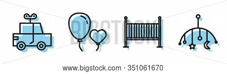 Set Line Baby Crib Cradle Bed, Toy Car, Balloons In Form Of Heart And Baby Crib Hanging Toys Icon. V