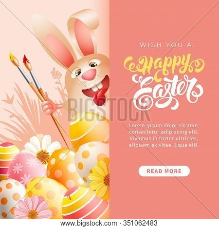 Easter Greeting Template. Cute And Cheerful Laughs Easter Bunny With Art Paint Brushes, And Painted