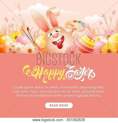 Easter Greeting Template. Cute And Cheerful Laughs Easter Bunny With Art Paint Brushes, Palette And