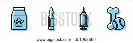 Set Line Syringe With Pet Vaccine, Bag Of Food For Pet, Pets Vial Medical And Pet Toys Bone Rubber A