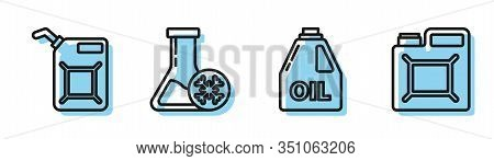 Set Line Canister For Motor Machine Oil, Canister For Gasoline, Antifreeze Test Tube And Canister Fo