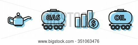 Set Line Pie Chart Infographic And Dollar, Canister For Motor Machine Oil, Gas Railway Cistern And O