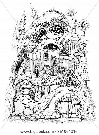 Collection Of Ink Drawing  Houses For Concept Art Inspiration. Magic Village, Fairy Houses, Fantasy