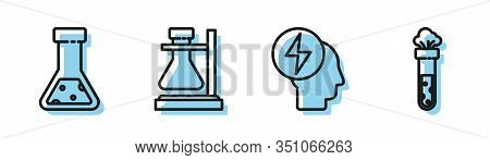 Set Line Head And Electric Symbol, Test Tube And Flask Chemical, Test Tube Flask On Stand And Test T