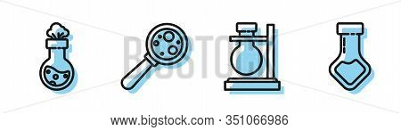 Set Line Test Tube Flask On Stand, Test Tube And Flask Chemical, Microorganisms Under Magnifier And