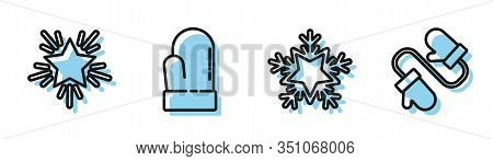 Set Line Snowflake, Christmas Star, Christmas Mitten And Pair Of Knitted Christmas Mittens Icon. Vec