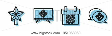 Set Line Calendar, Christmas Star, Merry Christmas On Television And Snowflake With Speech Bubble Ic