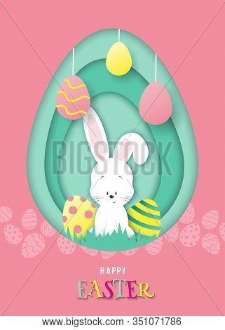 Lovely Easter Card With Paper Bunny. Easter Illustration In Paper Style, Shadow, Vector. White Rabbi