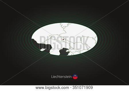 Liechtenstein Map In Dark Color, Oval Map With Neighboring Countries. Vector Map And Flag Of Liechte